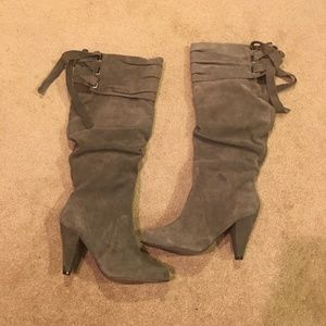 Naughty Monkey Gray Suede Slouchy Knee High Boots